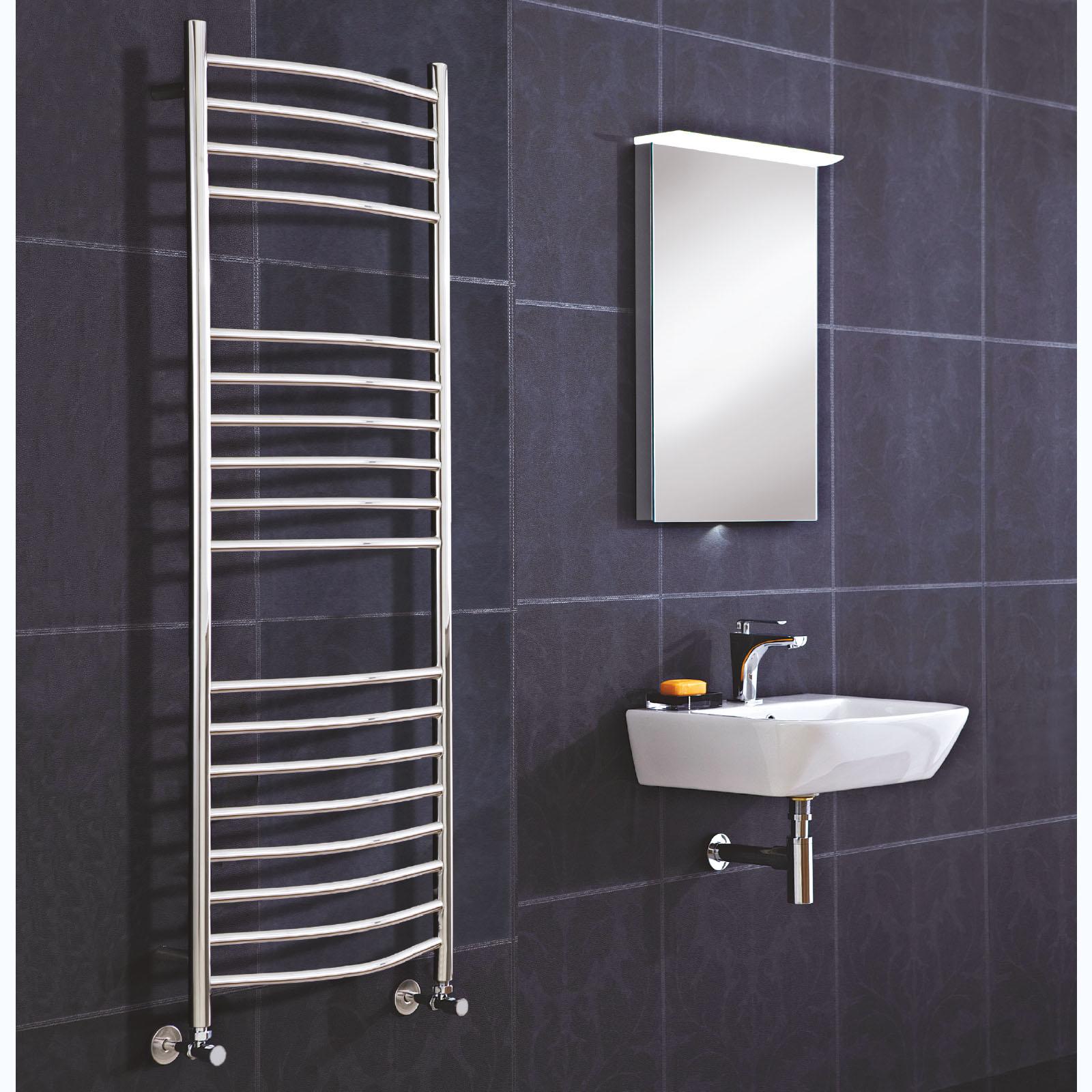 Phoenix Thame Curved Stainless Steel Bathroom Towel Radiators