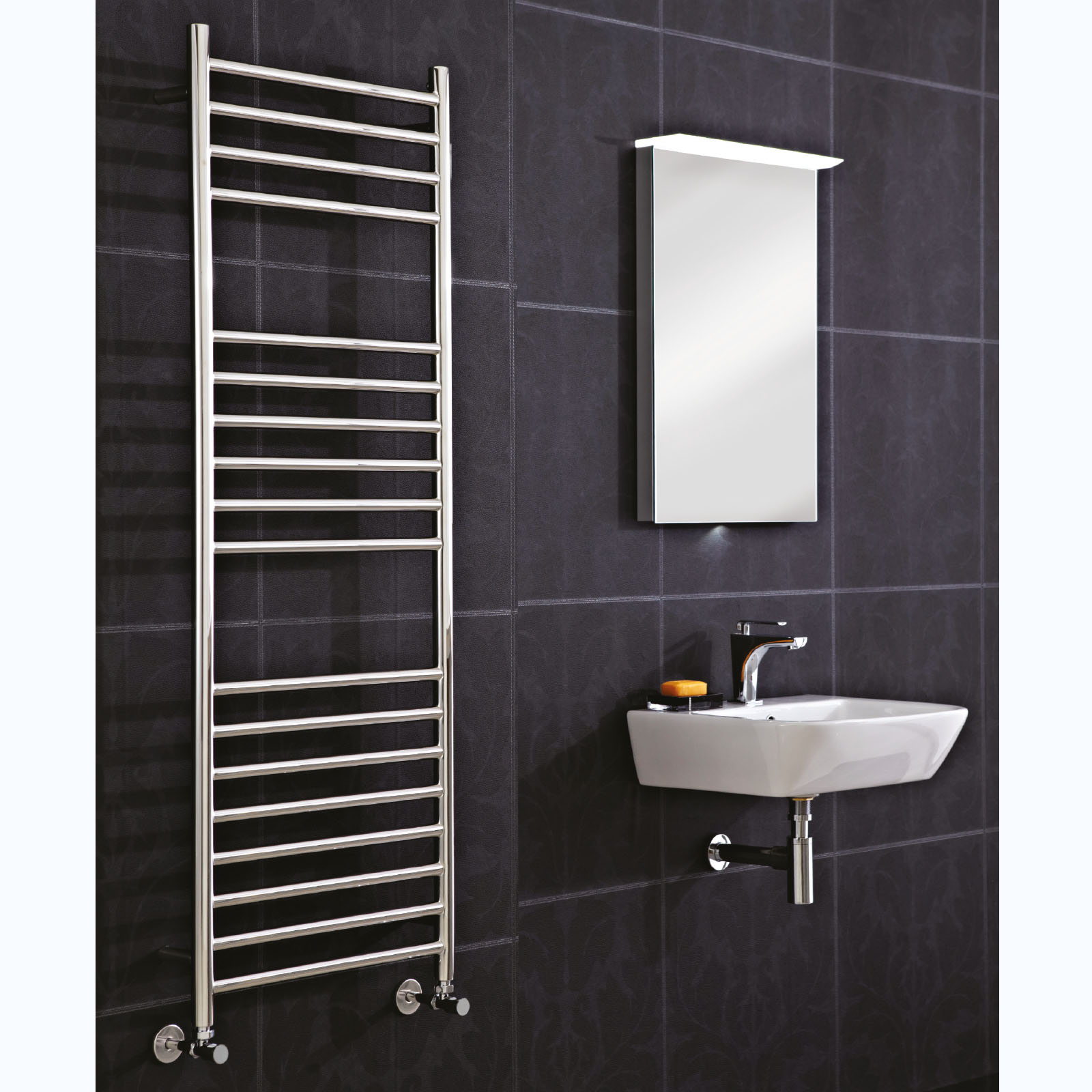 Small heated towel rails for bathrooms - Phoenix Athena Stainless Steel Towel Rail
