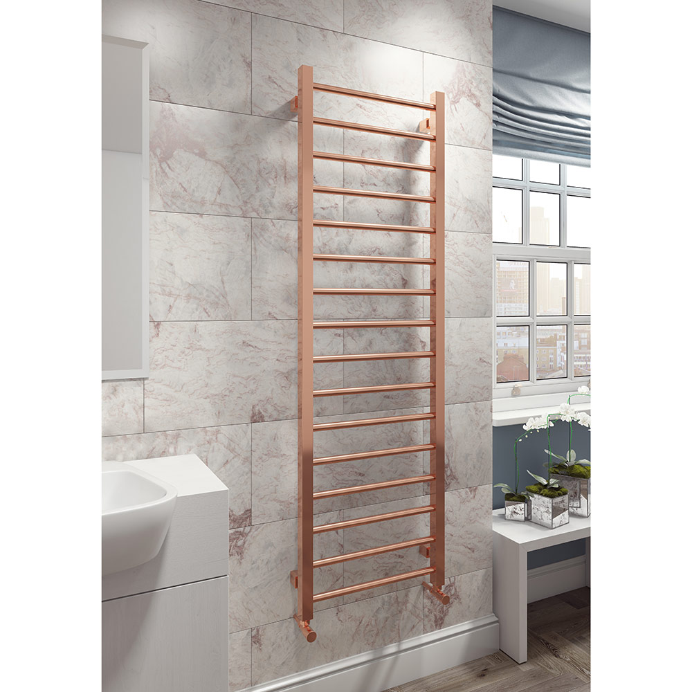 Classic rose gold heated towel rail for bathrooms
