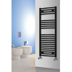 Reina Diva Black Heated Towel Rail on Wall