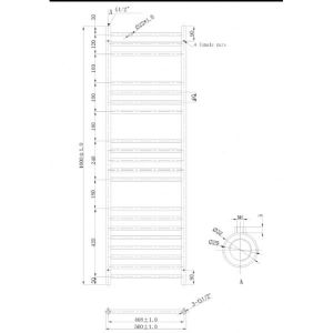 500x1400mm Athena Towel Rail Technical Drawing