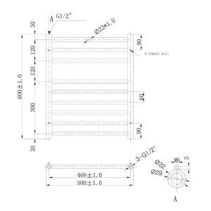 500x600mm Athena Towel Rail Technical Drawing