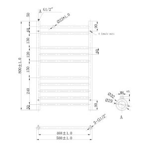 500x800mm Athena Towel Rail Technical Drawing