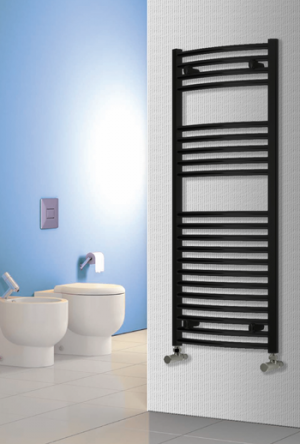 Reina Diva Black Heated Towel Rail on Wall