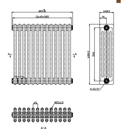 Nicole 600x605mm technical drawing