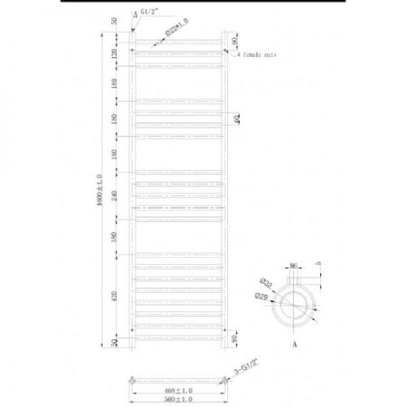 500x1400mm Athena Towel Rail Technical Drawing