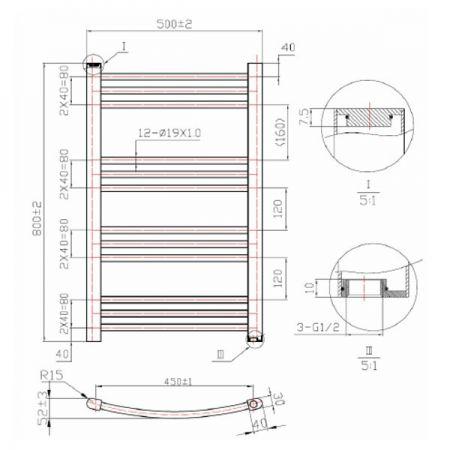 800mm Phoenix Gina Technical Drawing