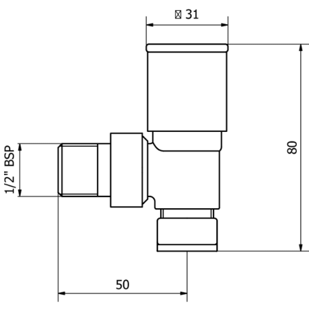 Rose gold angled valves technical drawings
