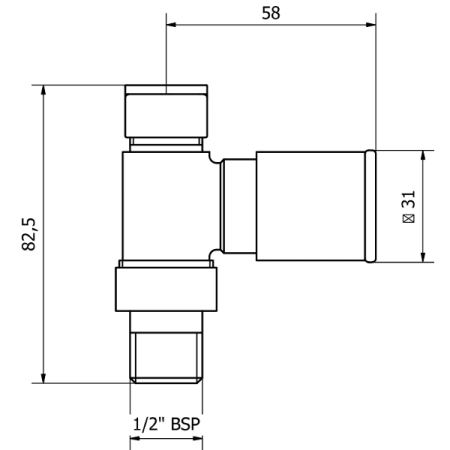 Rose gold straight valves technical drawings