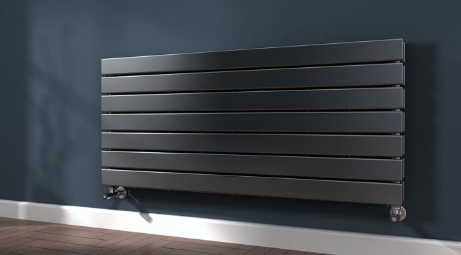 black horizontal aluminium radiator