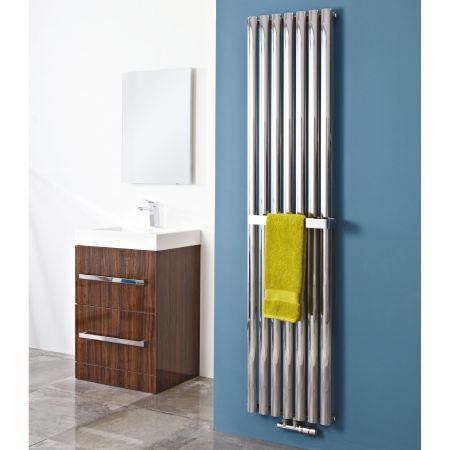 (W)420mm x (H)1800mm Phoenix Louise Vertical Radiator with towel rail