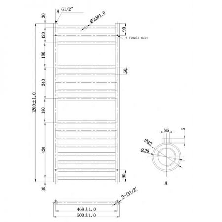 500x1200mm Athena Towel Rail Technical Drawing