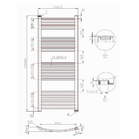 1200mm Phoenix Gina Technical Drawing