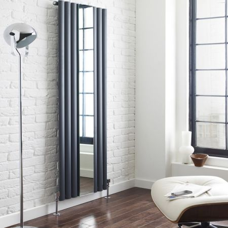 Hudson Reed Revive Anthracite Single Panel Designer Radiator With Mirror Lifestyle Shot