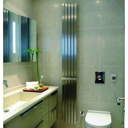 Lifestyle shot of the Idaho panel radiator in a bathroom setting