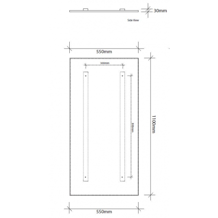 1100mm high infrared panel technical drawing