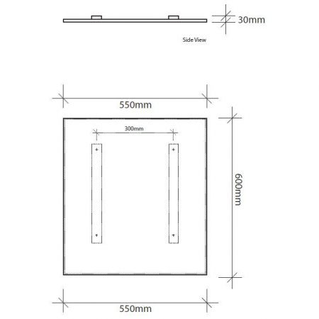 600mm high infrared panel technical drawing