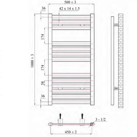 Phoenix Ascot 500x1000mm Electric Towel Rail Technical Drawing
