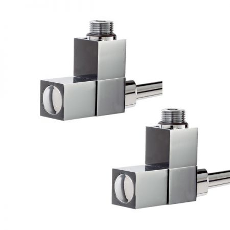 Square design angled towel radiator valves