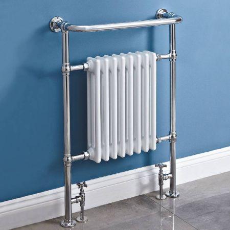 Phoenix York Floor Standing Traditional Heated Towel Rail