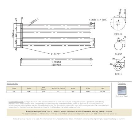 RA322 Zonta 400x1200 Technical Drawing