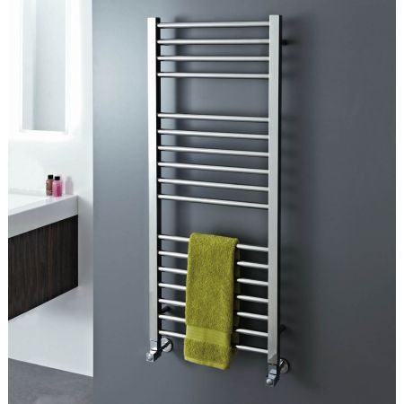 Phoenix Rochelle 500mm towel rail with towel resting on the rails