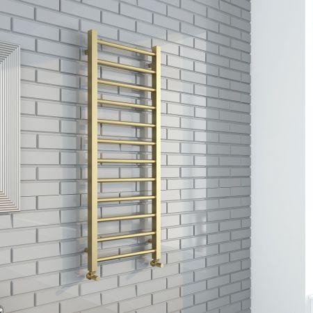 Aquaglass Mineral Round Brushed Brass Towel Rail