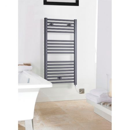 Nuie pre filled electric towel rail with an anthracite finish
