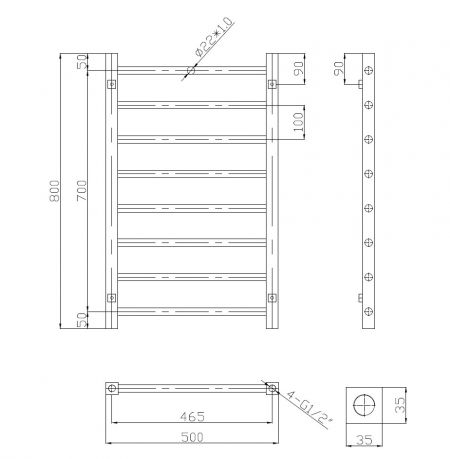 Technical drawing of the 800x500 rose gold straight towel rail